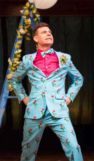 Touchstone in As You Like It. Costume design by Charlotte Palmer-Lane.