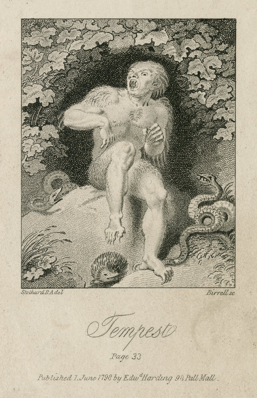 Caliban in Tempest. Thomas Stothard. Print, 1798. Folger Shakespeare Library.