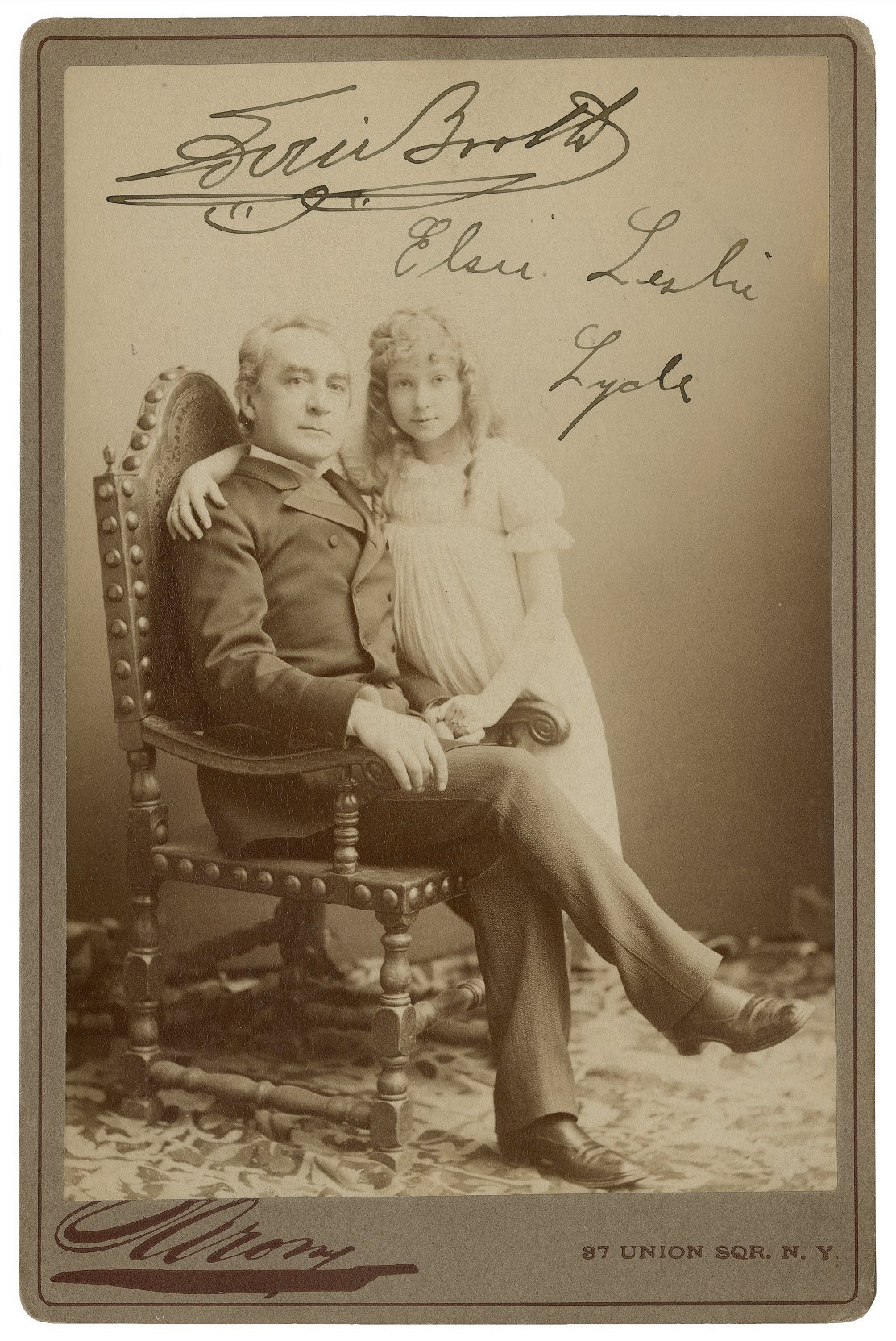 Edwin Booth [and] Elsie Leslie Lyde. Napoleon Sarony. Photograph. Folger Shakespeare Library.