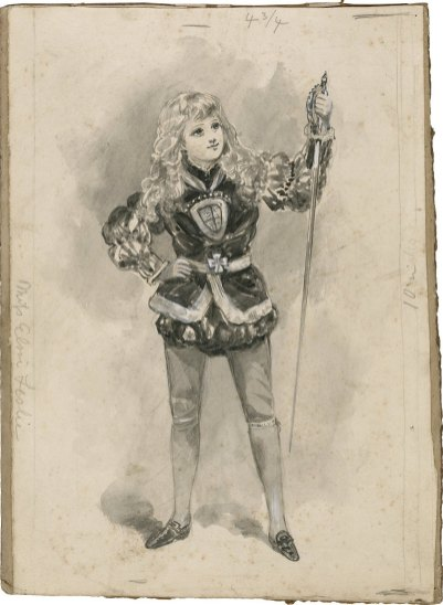 King John, Miss Elsie Leslie as Prince Arthur. Bernard Partridge. Drawing. Folger Shakespeare Liibrary.