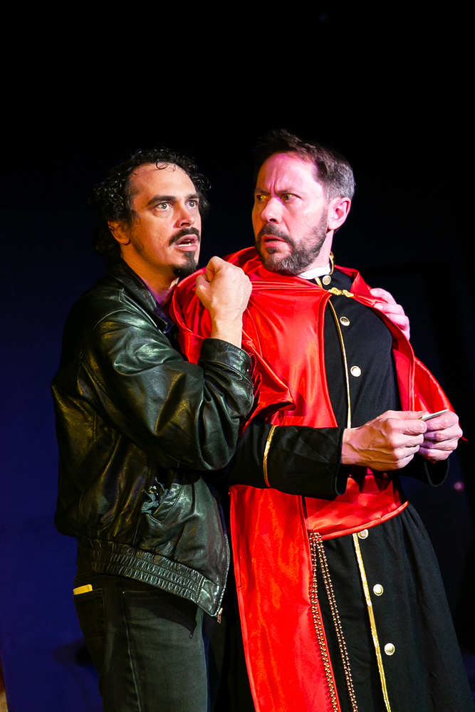 "Ian Blackwell Rogers as Ferdinand and Steve Lebens as the Cardinal in Brave Spirits Theatre's ""The Duchess of Malfi,"" 2018. Photo by Claire Kimball."