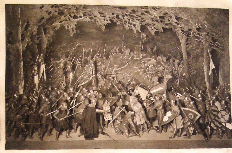 Battle of Angiers tableau, Beerbohm-Tree stage production of King John. (c) University of Bristol Theatre Collection.