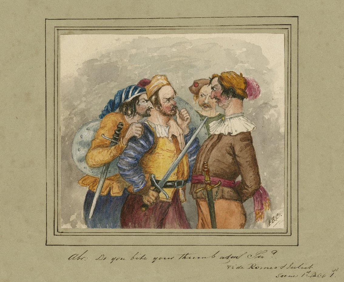 """Abr.: 'Do you bite your thumb at us sir?' vide Romeo and Juliet, scene 1st, act 1st."" I.E.C. (artist). 19th century. Folger Shakespeare Library."