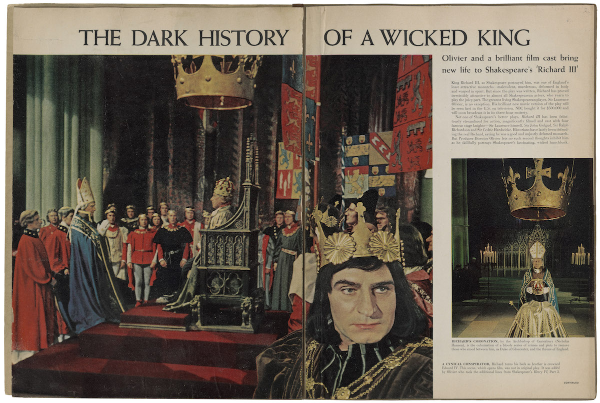 """The Dark History of a Wicked King."" Life magazine article about Laurence Olivier in Richard III. Clipping in a scrapbook, circa 1956. Folger Shakespeare Library."