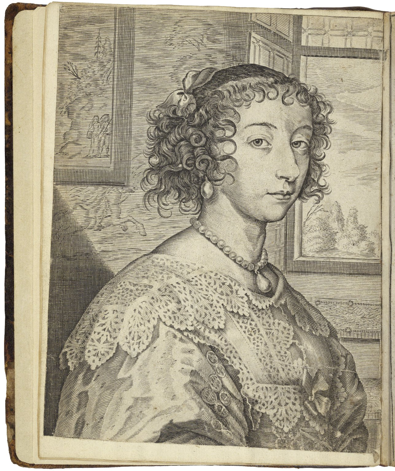 Henrietta Maria, frontispiece. The exemplary lives and memorable acts. 1640. Folger Shakespeare Library.