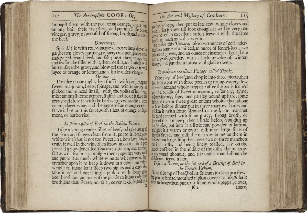 Brisket recipe, end of page 115. Robert May. The Accomplisht Cook. 1685. Folger Shakespeare Library.