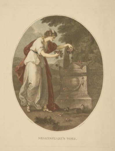 """Shakespeare's Tomb,"" Painted by Angelica Kauffmann, engraved by Bartolozzi"