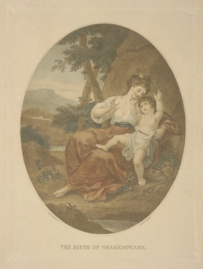 """""""The Birth of Shakespeare,"""" painted by Angelica Kauffmann, engraved by Bartolozzi"""