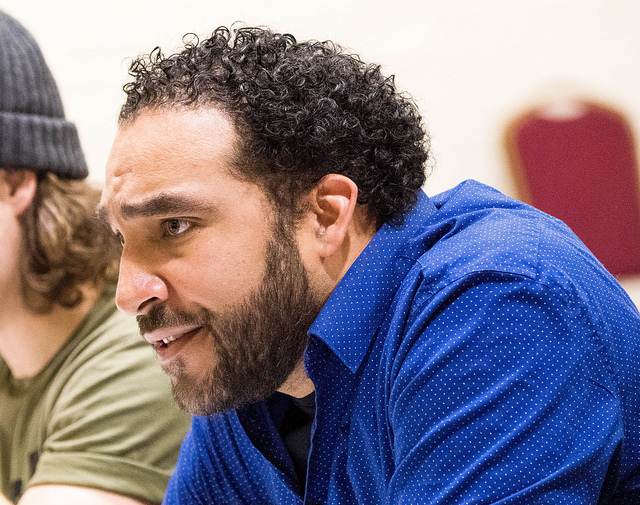 """Armando McClain, Cinna. In rehearsals for """"Julius Caesar"""" at Theatre for a New Audience."""