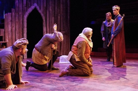 "Gregory Michael Atkin (Pistol), Michael Crowley (Shallow) Gregory Burgess (Falstaff) Brendan Murray (Lord Chief of Justice) and Seamus Miller (Prince Henry) in ""Henry IV, Part 2"" at Chesapeake Shakespeare Company. Photo: Brandon W. Vernon."