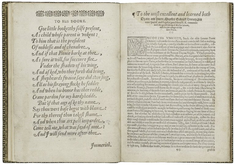An open book showing the preface to a work by Edmund Spenser