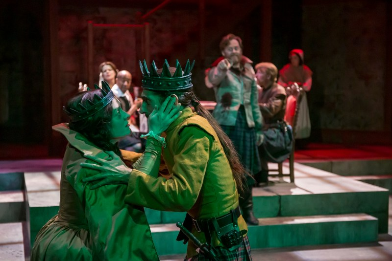 Giles Davies, Kelly Mengelkock, and the company of Macbeth at Cincinnati Shakespeare Company. Photo: Mikki Schaffner Photography.