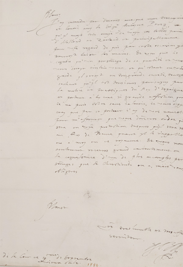 1594 letter from the Earl of Essex