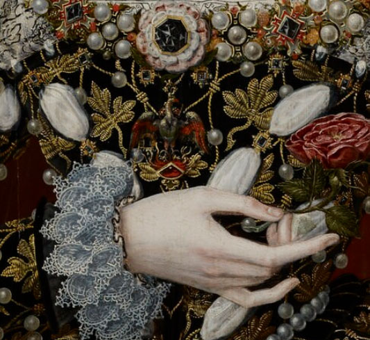 Detail of an Elizabeth I portrait showing a phoenix on her dress
