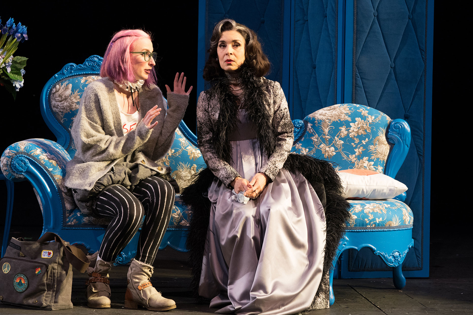 Helen talks with the Countess of Rossillion in 'All's Well That Ends Well' at Oregon Shakespeare Festival