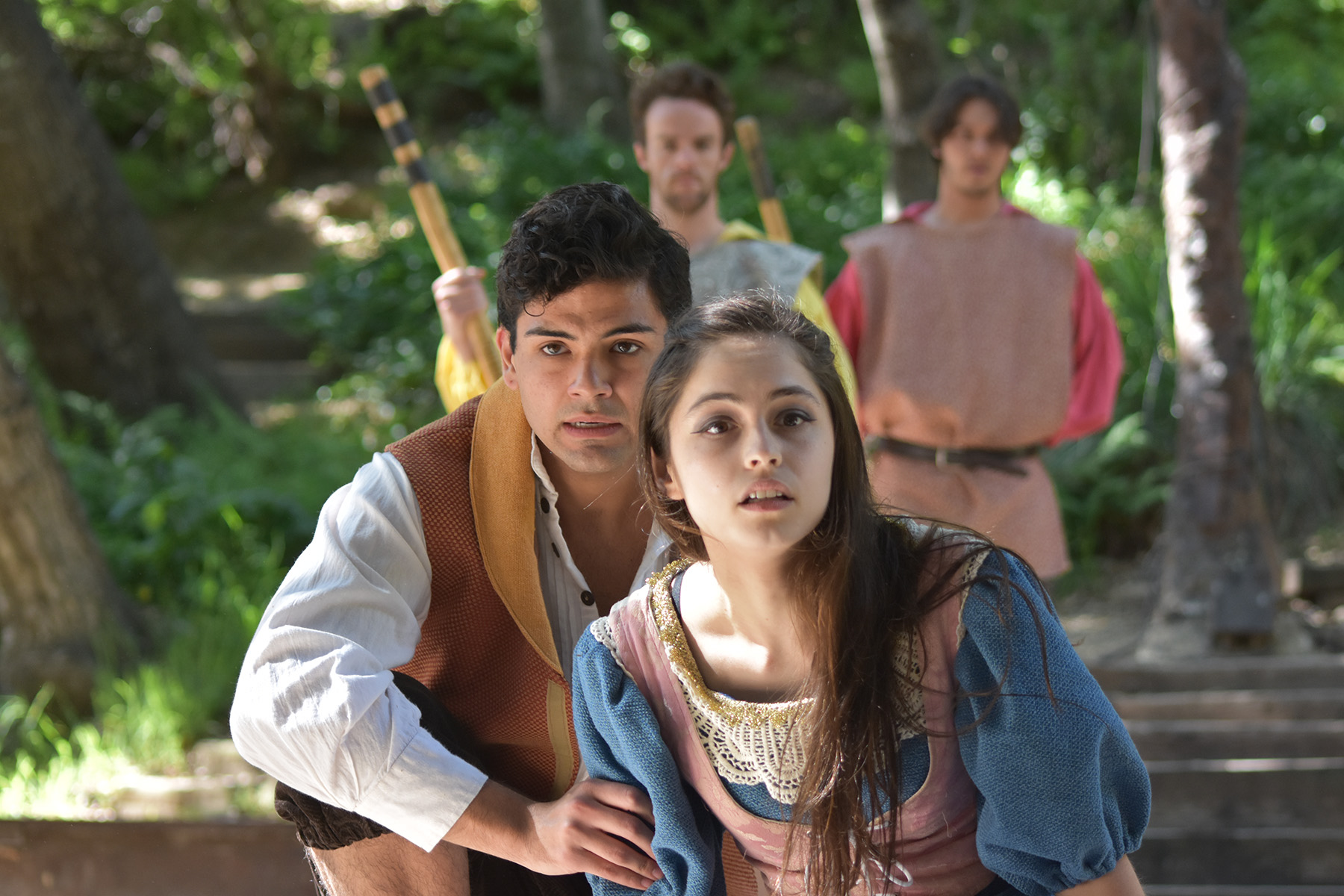 "Lysander and Hermia look desperate in Will Geer's Theatricum Botanicum's ""Midsummer Night's Dream"