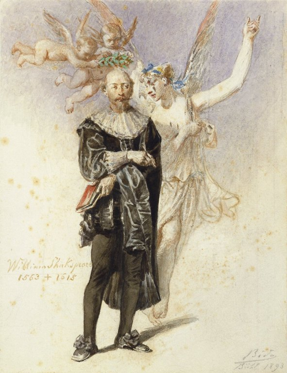 Portrait of Shakespeare with a winged muse