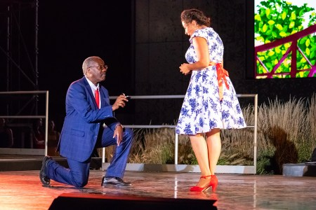 Ron Himes, as Henry, proposes to Rayme Cornell as Kate, in Such Sweet Thunder at Shakespeare Festival St. Louis
