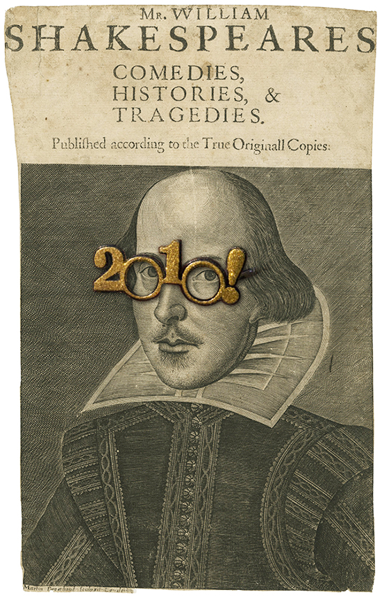 Shakespeare wearing novelty 2010 New Years glasses.