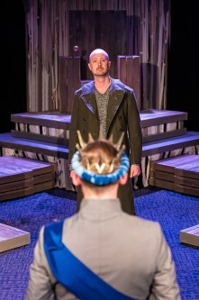 """John Stange as Henry Bolingbroke and Gary DuBreuil as Richard II (foreground) in """"Richard II"""" at Brave Spirits Theatre. Photo: Claire Kimball."""