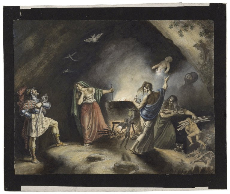 Painting of Macbeth in the witches' cave