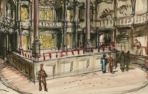 Watercolor sketch of the Globe stage