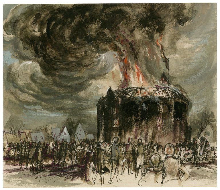 Flames and smoke consuming the Globe Theatre