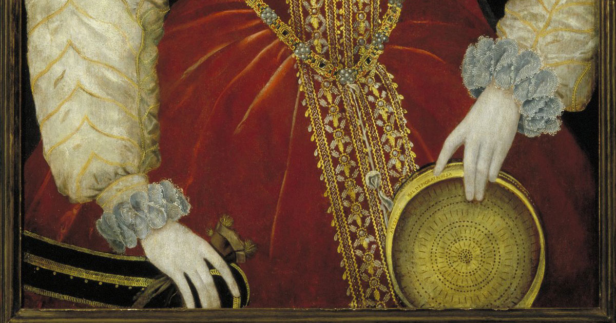 Portrait of Queen Elizabeth I holding a sieve