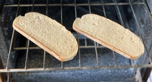 Slices of bread toasting