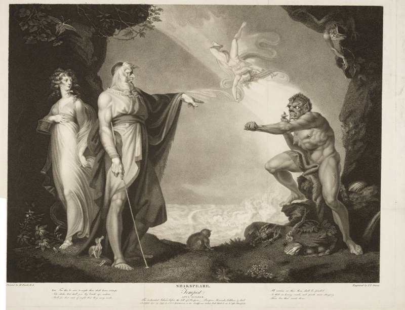 Miranda, Prospero, and Caliban in The Tempest