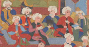 Men engaged in reading, writing, and recitation