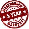 5 year workmanship warranty