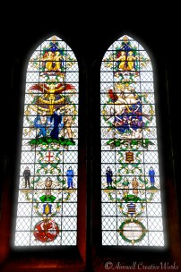 Lancet windows ... the cathedral is reaching the end of a 30 year restoration project (completion 2018). The windows are being cleaned and reglazed as necessary. Some of the stained glass is of medieval origin ...