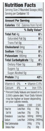 orgain ingredient label