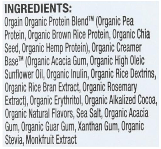 orgain ingredient list