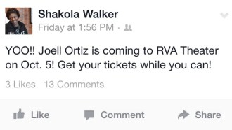 Facebook promotion for Joell Ortiz