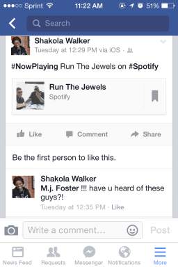 Facebook promotion for Run The Jewels