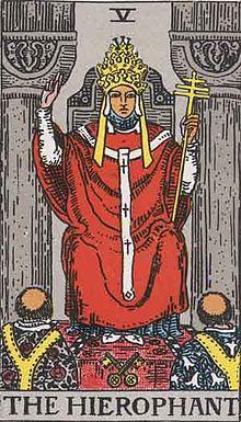 Tarot Major arcana 05 Hierophant今週のビジョン:タロットカード大アルカナ:POPE:法王ー 法も価値観も時代によって変わるもの。グローバルな社会の中で、自分の価値観を自分で知って個性に息吹を与えるとエネルギーアップに。
