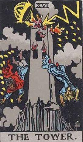 イメージ画像:タロットカード 大アルカナ 塔・神(紙)の家(The Tower)ー 正位置 意味:稲妻による、ハリボテな現実の破壊とFlashな気付き