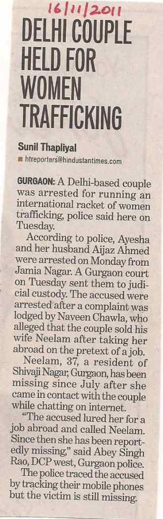 Delhi Couple Held for Human Trafficking