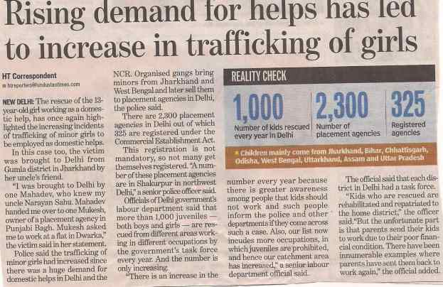 Rising demand for helps has led to increase in trafficking of girls