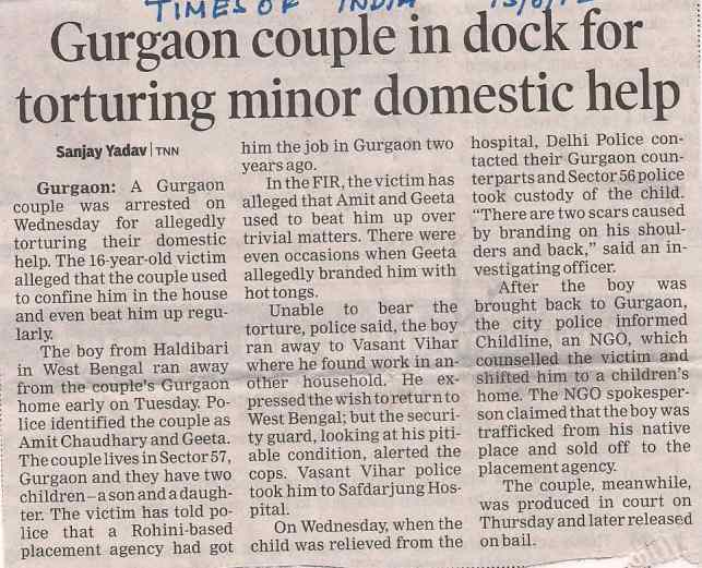 Couple held for torturing domestic help - TOI