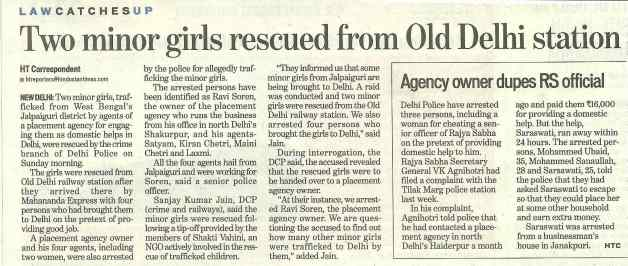 Two minor girls rescued from Old Delhi station