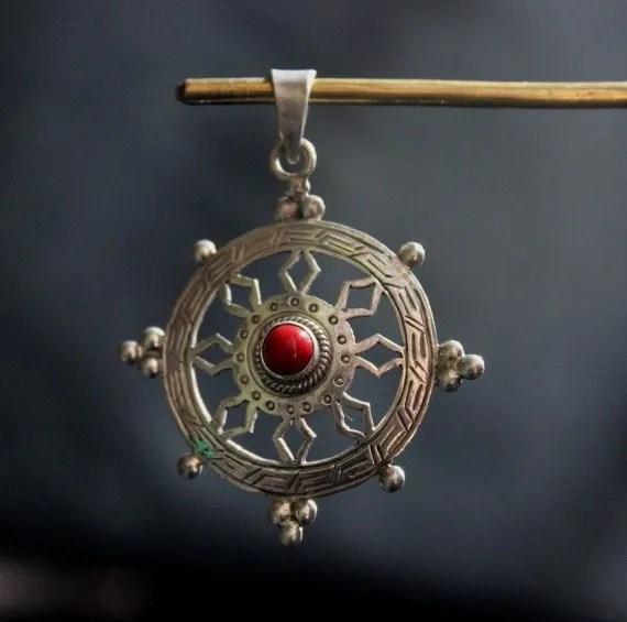 Dharma wheel pendant dharmachakra 925 silver tibetan lucky charm dharma wheel pendant aloadofball Choice Image