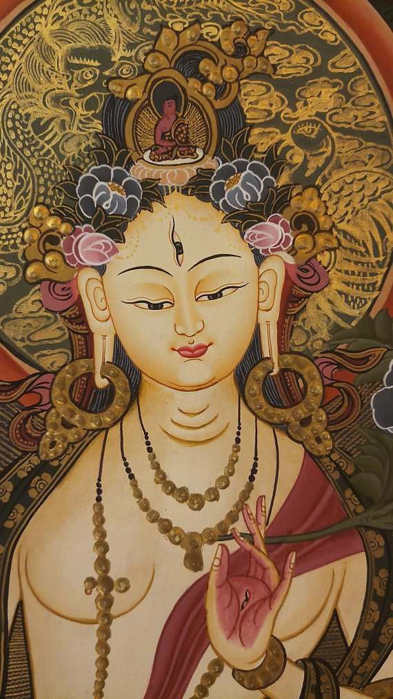 White Goddess Thangka face