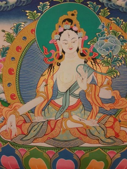White tara tibetan thangka blue bg 3