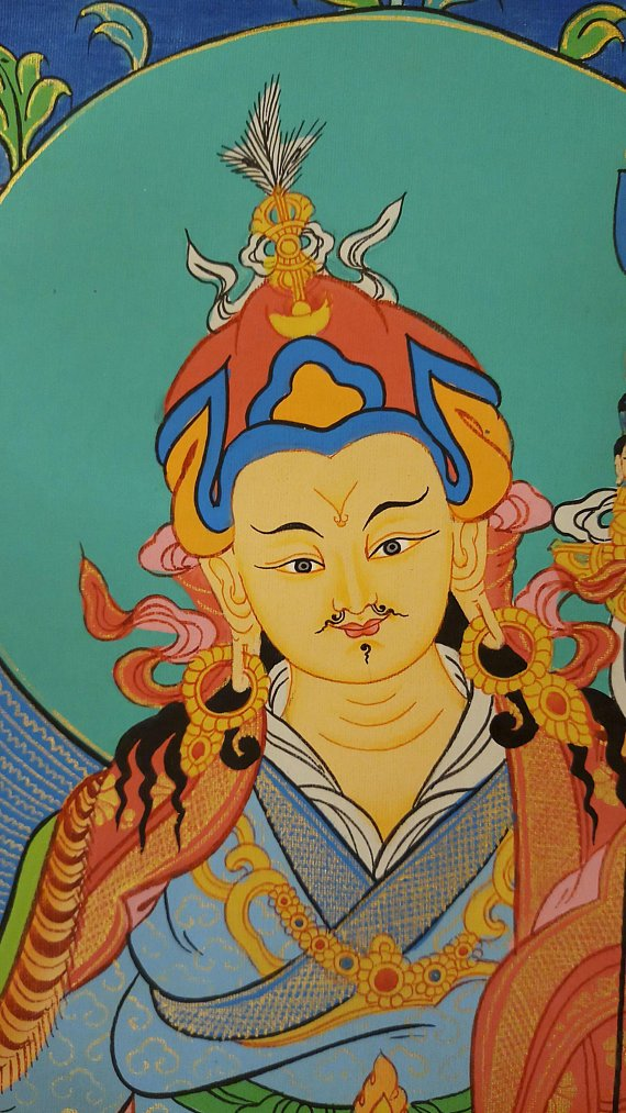 padmasambhava guru thangka face