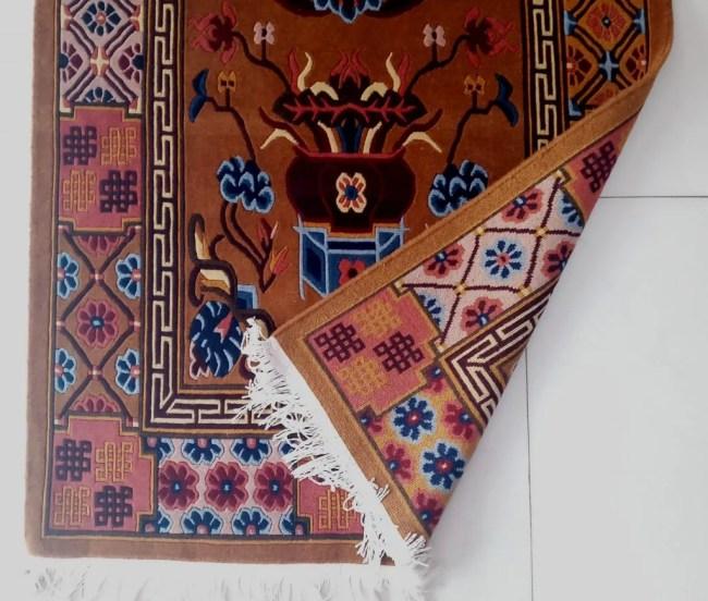 Tibetan rug mandala detail backview