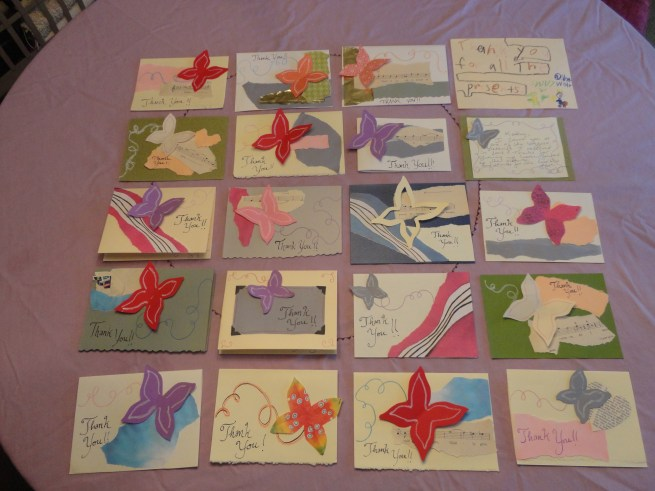 Handmade Butterfly Thank You Cards