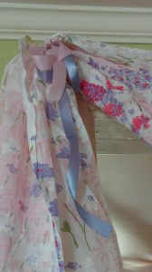 pink floral fabric swag